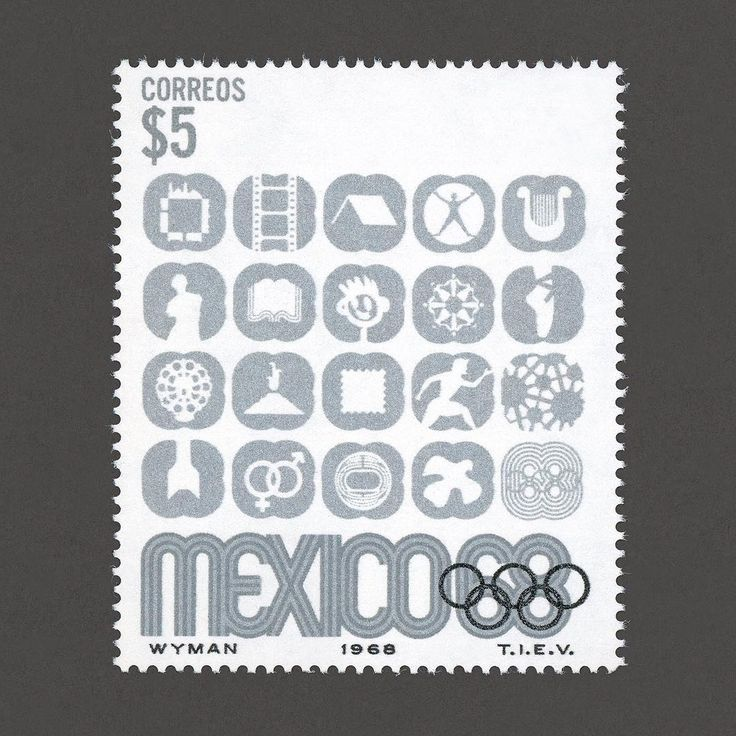 Mexico Olympic Games. Mexico, 1968. Design: Lance Wyman. #graphilately #mnh #graphiMexico