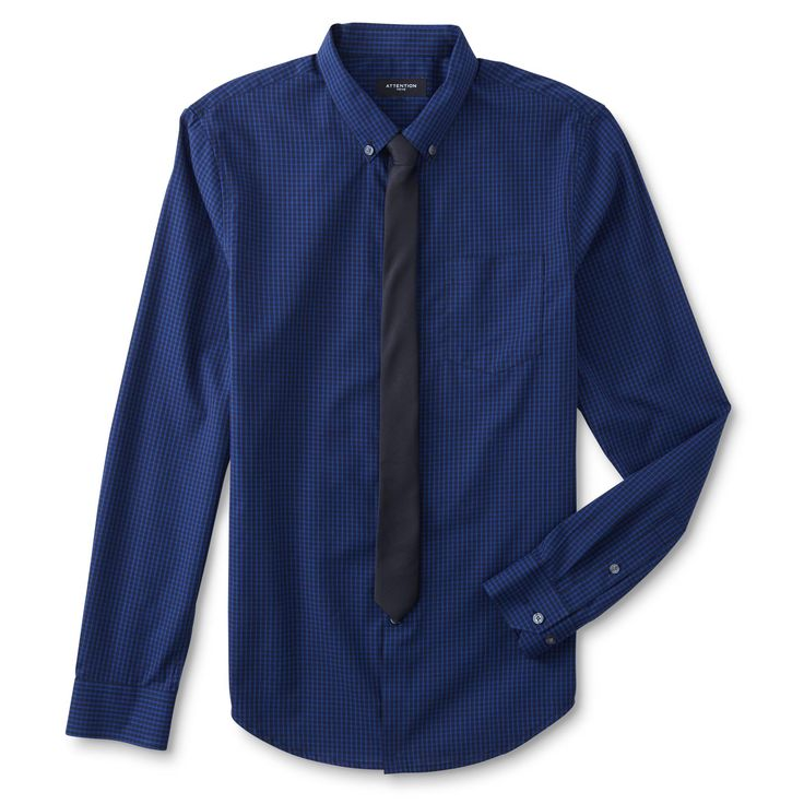 Attention Men's Big & Tall Dress Shirt & Necktie - Checked, Size: 3XLT, Blue