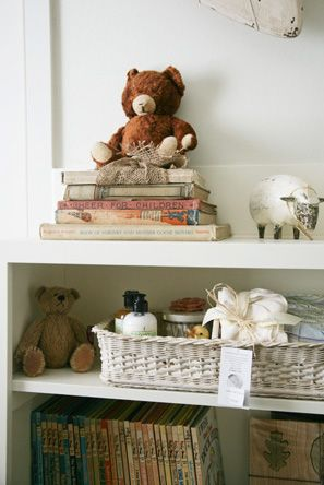 white vintage neutral nursery. Would be so cute and special to use my own old stuffed animals.