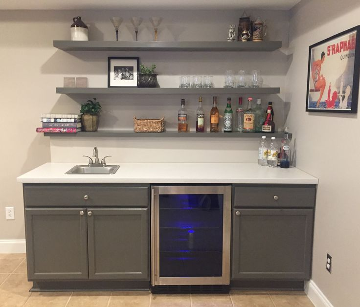 fabulous finally finished basement bar unfinished cabinets. Black Bedroom Furniture Sets. Home Design Ideas