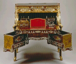 Roll-top desk, Neuwied, Germany, circa 1770. Abraham and David Roentgen. Wood, marquetry, mother-of-pearl.