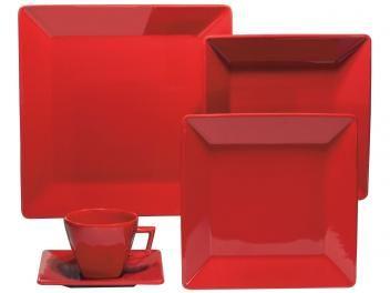 Aparelho de Jantar 42 Peças Oxford Porcelana - Quadrado Vermelho Quartier Red