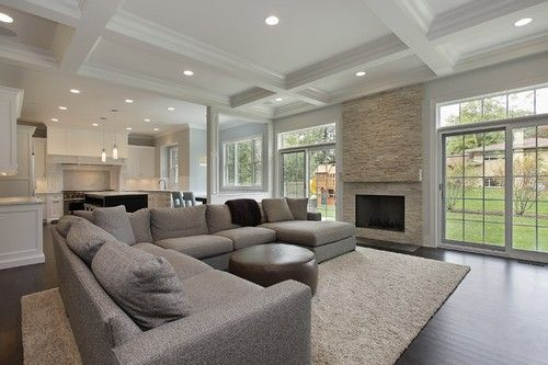 family room/ kitchen layout LOVE the wide open space and all the windows/light