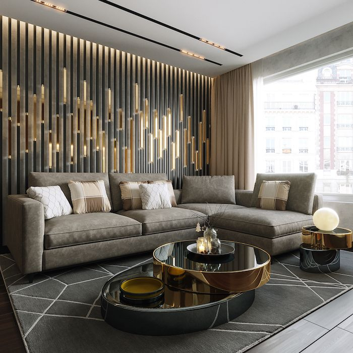 Gold Metal Lights Wall Installation Accent Wall Living Room Grey Corner So In 2020 Accent Walls In Living Room Contemporary Decor Living Room Living Room Design Modern