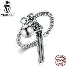 VOROCO Auténtico Original Borlas y Perlas de Plata de Ley 925 Estilo Band Cuff Brazalete Ajustable Anillo de Mujer y Señora VSR016(China (Mainland))