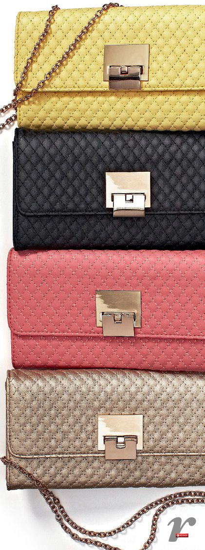 the bags are very beautiful has one chain strap are of color black,pink,mostaza and gold,are of leather in form of diamonds and has one brooch of  gold the price is of $350