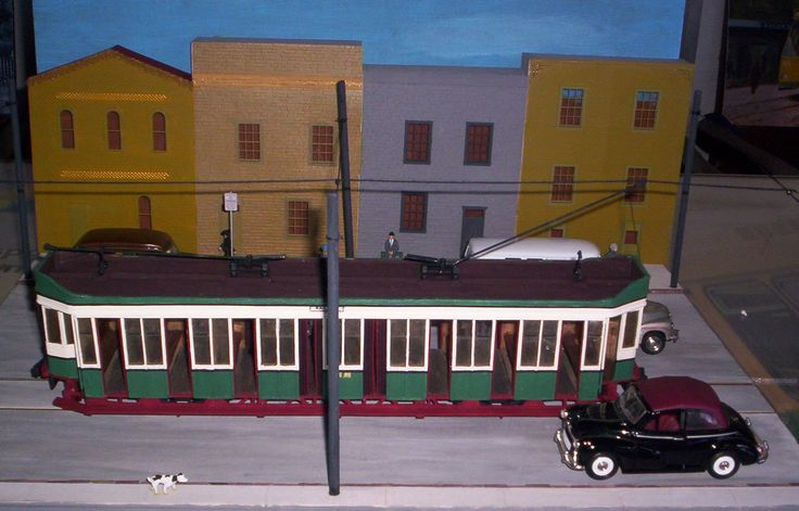 Scaled model of Sydney P class tram car. Made by Len Miller.