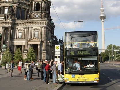 For the best seats on the easiest DIY bustour of Berlin hop on Bus 100 @ Alexanderplatz, Berlin, Germany