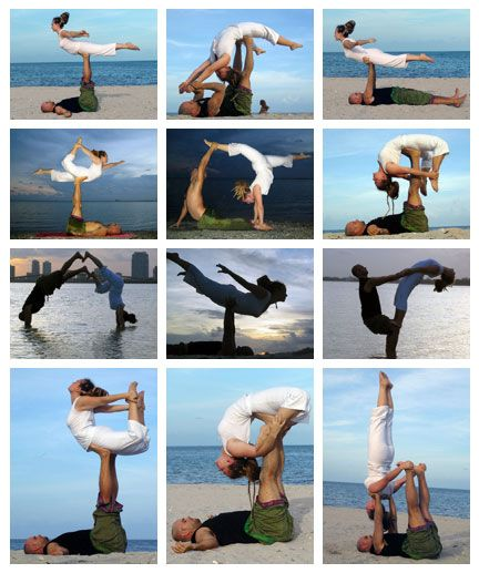 Acroyoga poses - From top left (Bird, superyogi - backflying, bird, bird-half bow, one handed reverse box, backflying bow, partner hmm??, bird again, thightstand, bird to bow, more backflying bow, shoulderstand