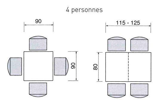 Une table carrée et rectangulaire pour 4 personnes