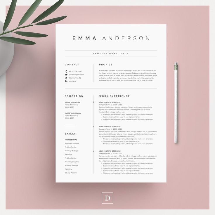 clean modern resume template 4 page