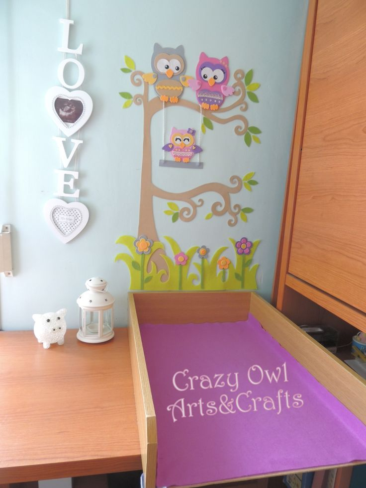 Nursery decoration - owl family wall decoration  Facebook.com/crazyowlartsandcrafts