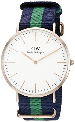 Daniel Wellington Men's 0105DW Analog Quartz Classic Warwick Stainless Steel Watch with Striped Nylon Band