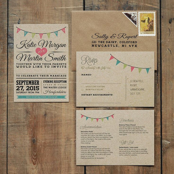 how to get directions for wedding invitations%0A Vintage Bunting Kraft Wedding Invitation