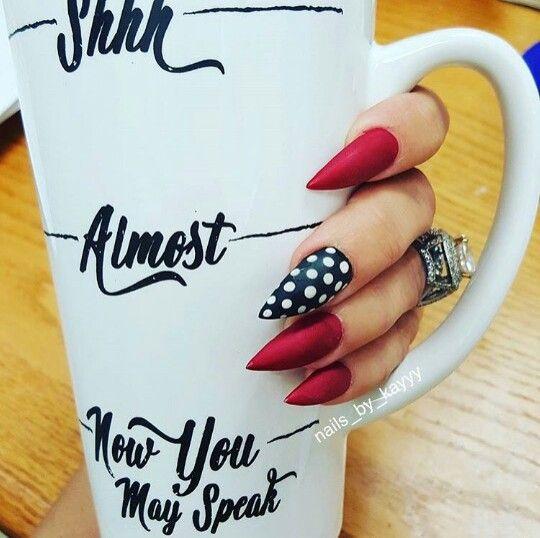 Stiletto red nails black white polka dots