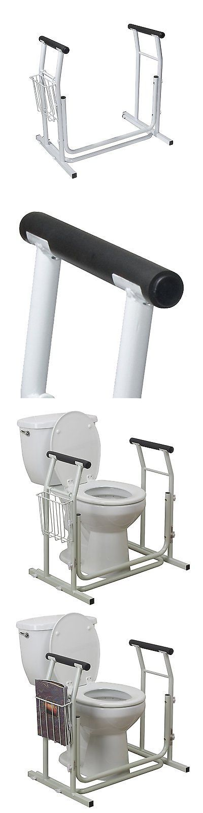 Handles and Rails: Toilet Safety Rail Frame Bar Support Bathroom Stand Grab Medical Alone Handicap BUY IT NOW ONLY: $46.12