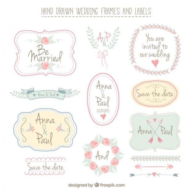 Disegnati a mano cornici e le etichette di nozze Vettore gratuito