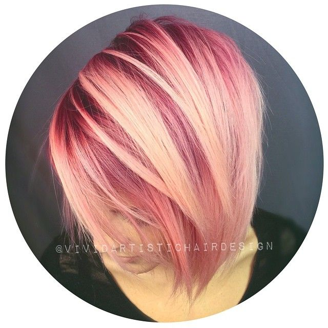 """Rose-hued color melt yumminess...and the kicker....I only used ONE formula (5RR) on zone one and melted down diluting with clear  #hair #hairlove…"""