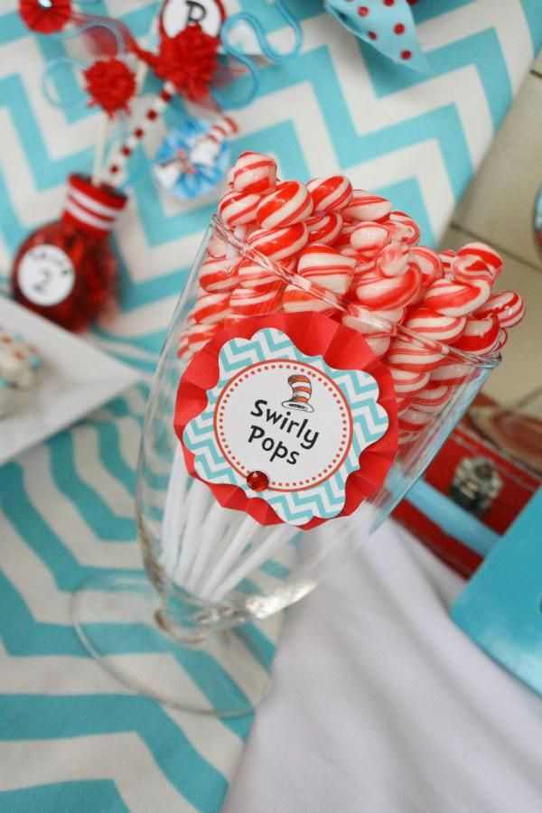 Thing One & Thing Two Dr Seuss Themed Birthday Party for twins via Kara's Party Ideas karaspartyideas.com supplies cake decorations gender n...