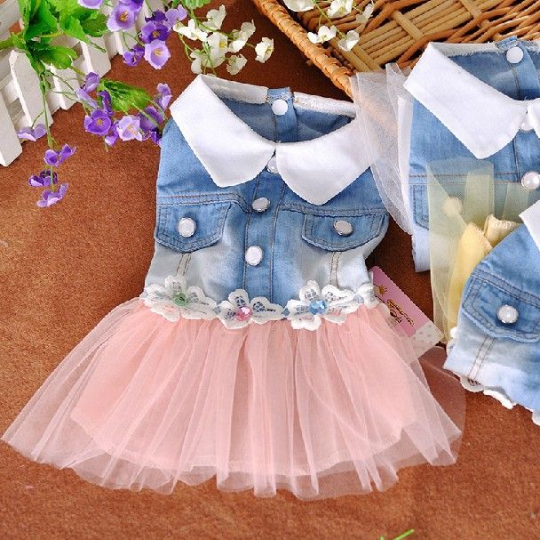 pet dog dress small dog clother spring and autumn jean skirt pet clothes for dogs puppy cat clothes - Tap the pin for the most adorable pawtastic fur baby apparel! You'll love the dog clothes and cat clothes! <3
