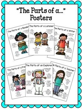 The posters serve as great anchor charts in your classroom to remind students how to use their eyes, hands, mouths, ears, hearts, and minds throughout the day. Posters included: The Parts of a...*writer*reader*listener*friend*mathematician*scientist*explorer*historian*teacher