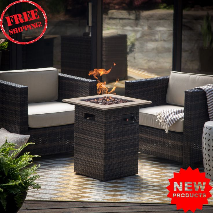 Patio Furniture, Dark Brown Modern Wicker . fire pits on sale. Furniture Set for Your Home Outdoors by the BBQ Grill, Garden or Fire Pit. set of 3 Piece. What's Included 2 Chairs, Seat cushions, Back cushions, Fire column, Lava rocks. The Belham Living Pavani All Weather Wicker 3 Piece Fire Pit Column Chat Set includes a 30,000 BTU fire table and two matching chairs perfect for cold days and nights in your backyard. Fire pit column with marble top and wicker base. 2 resin wicker chairs…