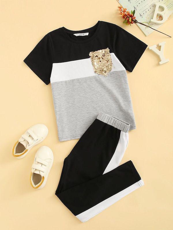 Conjunto De Ninas Top De Color Block Con Bolsillo Con Lentejuelas Con Pantalones Ropa Para Ninas Fashion Ropa Ropa Deportiva Ninas