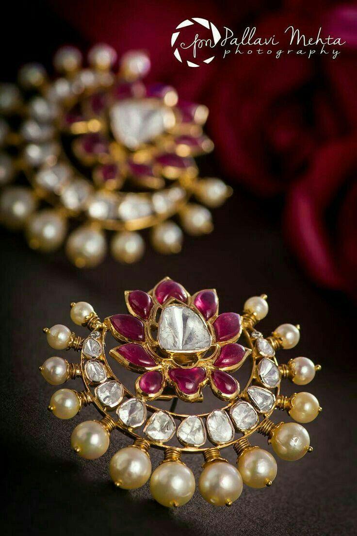 Chaandbali lotus studs rubies, diamonds and pearls