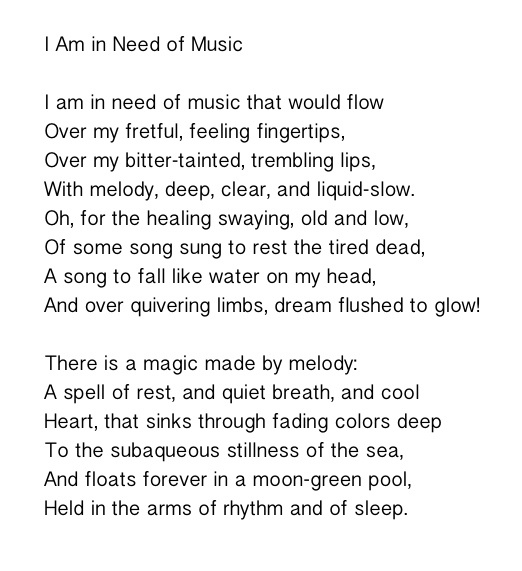 I Am in Need of Music - Elizabeth Bishop