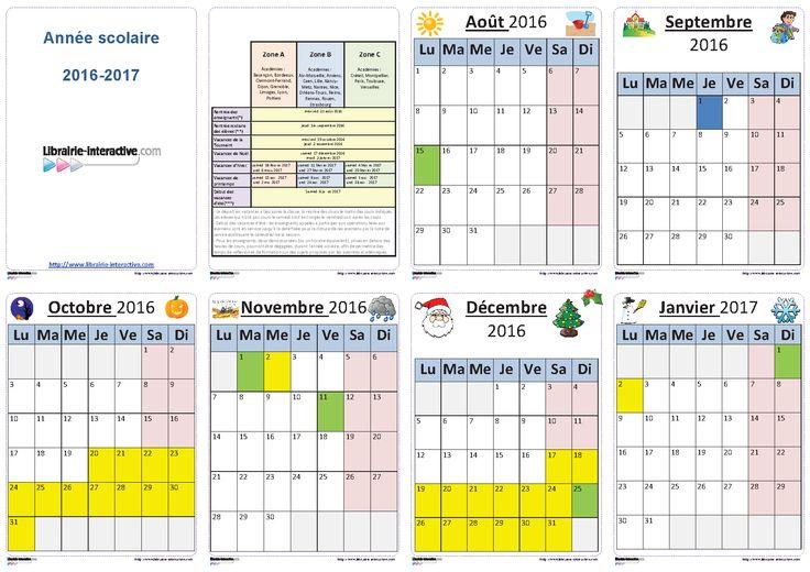 Un planning individuel illustré pour l'année scolaire 2016-2017 (6 mois ou 12 mois par page) pour les élèves et les enseignants.