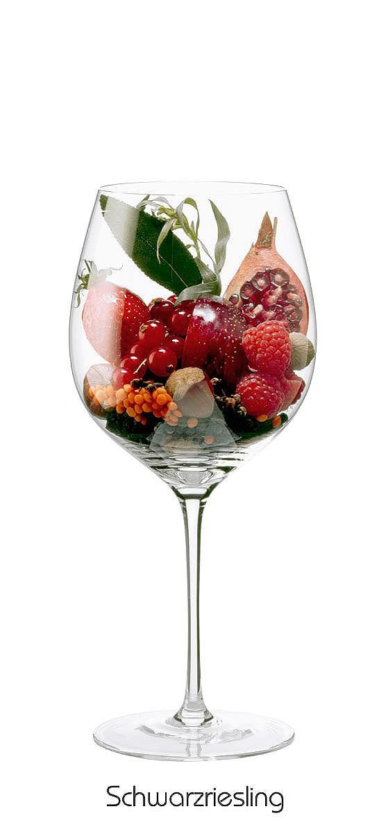 SCHWARZRIESLING  Plum, raspberry, strawberry, red currant, hazelnut, pomegranate, tarragon, lentils, sage, black pepper, clove, nutmeg