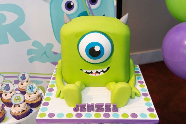 Monsters Inc. birthday party cake! See more party planning ideas at CatchMyParty.com!