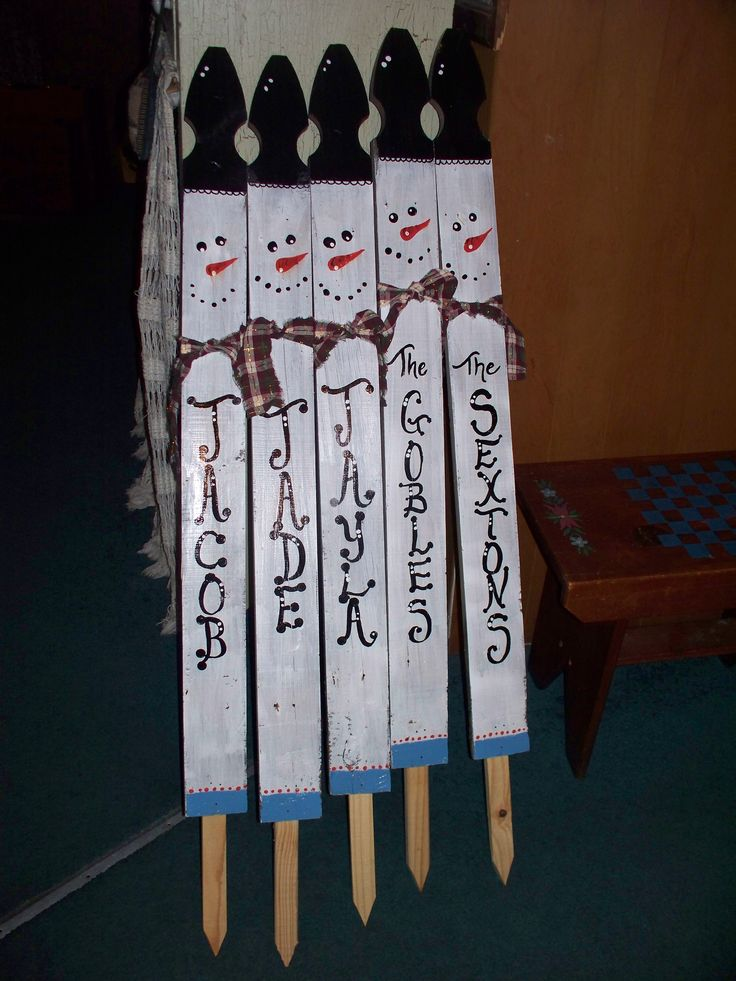 "42"" Rustic Snowman Yard Stake made from old Gothic Fence Picket. (Overall height including stake 48"")  $10 each (2 for 18 or 3/25)  ~FREE PERSONALIZATION~  Display a family of Snowmen in your yard...or your grandchildren ;)"