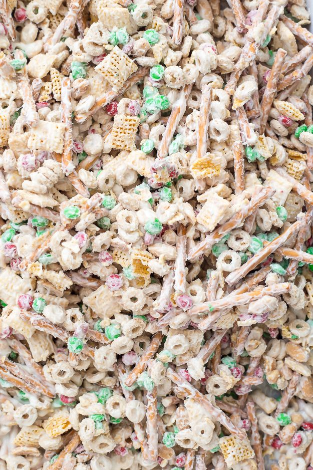 Christmas Crack Chex Mix is a family-favorite filled with Chex mix, cheerios, salted peanuts, M