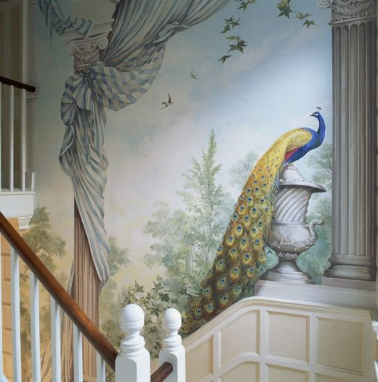 Graham Rust. Peacock mural | Landscape, Tree and Branch ...
