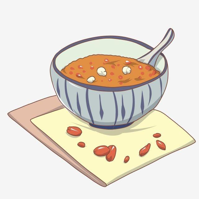وعاء رسمت باليد من عصيدة الأرز الدبق ملعقة الفاصوليا الحمراء طعام Png وملف Psd للتحميل مجانا Hand Painted Bowls Red Beans Rice Porridge