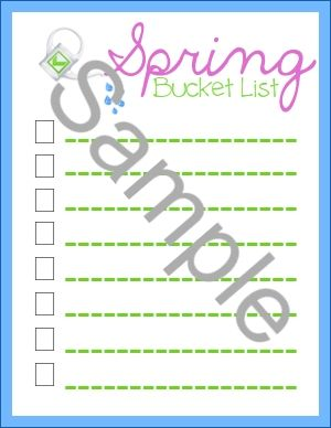 Week 10: The Bring on the Spring Challenge - Psychowith6 |Subscriber freebie spring bucket list printable