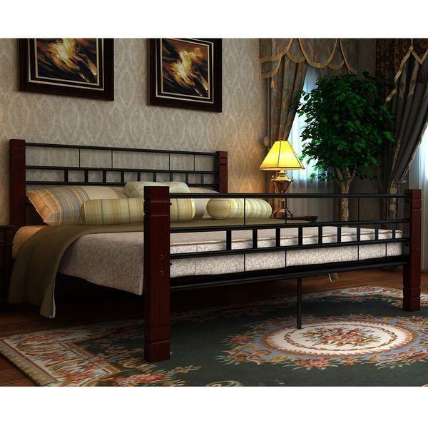 Double Bed Frame Modern Designer Metal Black Wooden Bedroom Couples Bedframe New