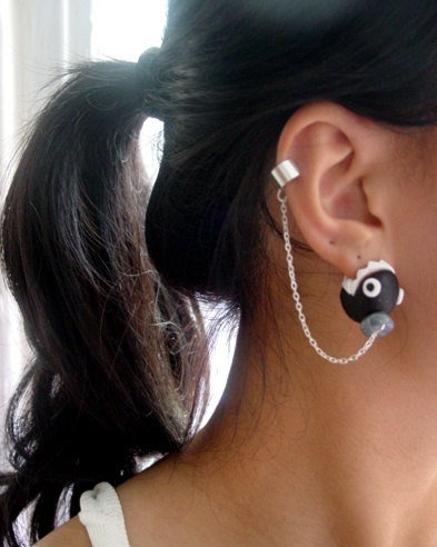 Super Mario Nintendo Ear Biting Chain Chomp Cuff Earrings. Not a tutorial but probably easy to make with polymer clay.