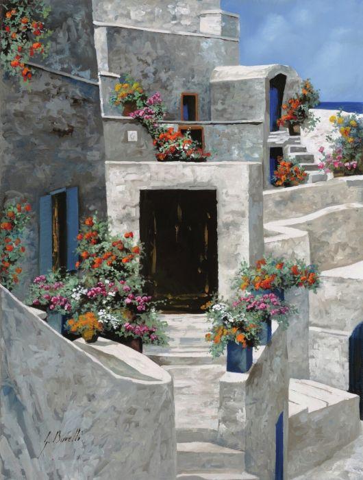 piccole case bianche di Grecia by Guido Borelli - piccole case bianche di Grecia Painting - piccole case bianche di Grecia Fine Art Prints and Posters for Sale