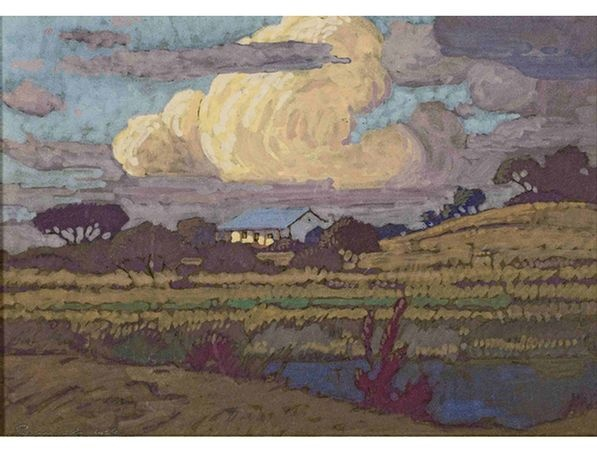 Jacob Hendrik Pierneef; A House in a Landscape