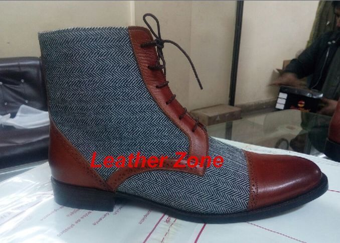 Handmade Men two tone ankle boots, Men Tan brown and Gray fabric boots Men boots #Handmade #Ankle