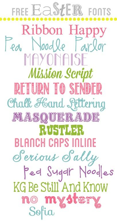Free Easter Fonts from www.overthebigmoon.com!