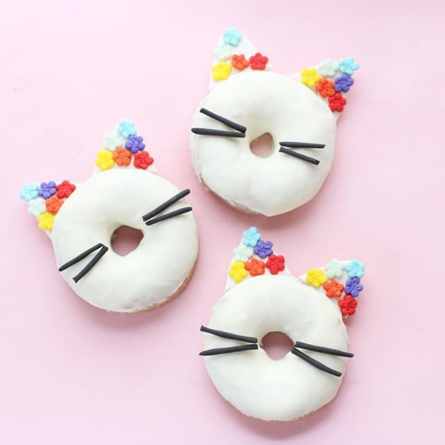 @parishilton Coachella fashion inspired    rainbow cat ear donuts   {and they're grape cotton candy flavored and surprisingly more delicious than I thought they would turn out}! I substituted regular sugar with grape candy floss sugar  {sadly, I didn't realize one flower was missing until after they were consumed}    #Regram via @christinascupcakes