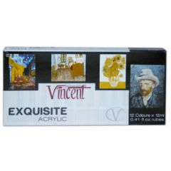 Vincent Exquisite Akrilik Boya Seti 12 Renk x 12 ml.