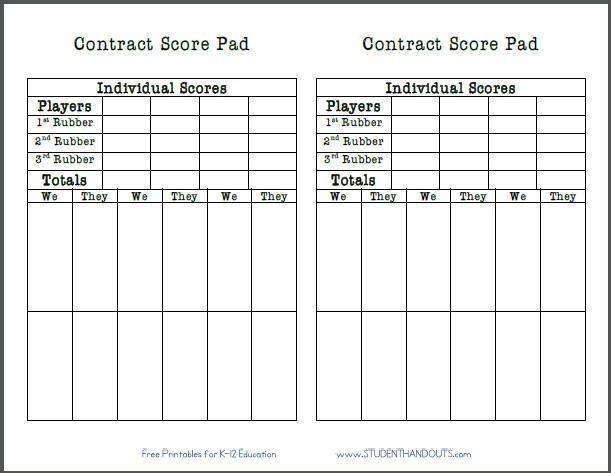Free printable bridge game contract score pad sheet for 4 table progressive game tally sheet