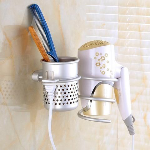 Wall Mount for Hair Dryer Drier with Brush Holder