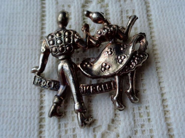Vintage Rock N' Roll Rockabilly Square Dancing Jitterbug Couple Brooch OLD #Unbranded