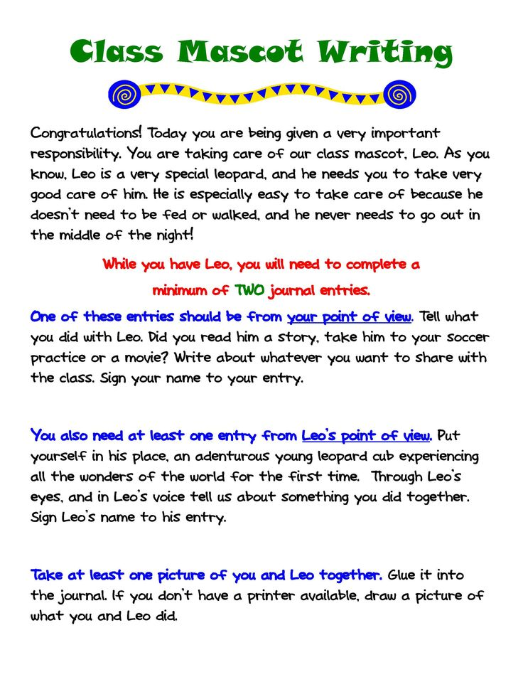 Classroom Mascot Ideas ~ Engaging young writers at home the class mascot writing