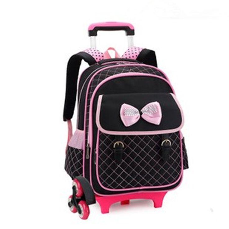 Hot style 3 wheels Palou student trolley schoolbag/fashion shoulder casual bag/Letter zipper removable backpack girl bookbag